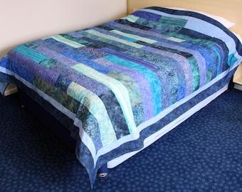 Batik Patchwork Quilt, Queen / King Size Ocean Handmade by PingWynny