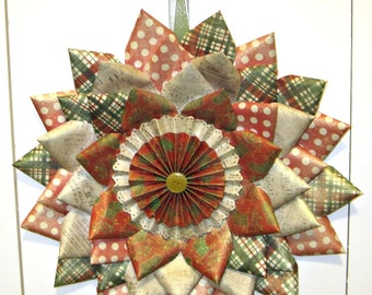 Handmade Red Green and Gold Paper Christmas Wreath
