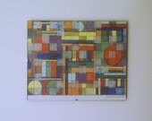 Original, abstract, multi-media drawing and painting. Modern. Rich color and geometric shapes. Framed.