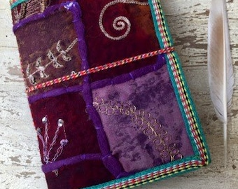 PURPLE HAZE JOURNAL - Indian sari notebook -Student -Journal -Back to school -Sketch book -Handmade paper -Bespoke Notebook- Diary- Artist
