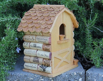 Barn birdhouse, wine cork art