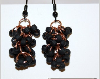 Made to order-Beaded shaggy loop black copper chain maille earrings-team colors school spirit sports cheering custom-Lebanon Palmyra cougars