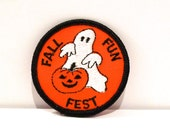 Ghost Patch Vintage Fall Fun Fest Patch Jack O Lantern Pumpkin Halloween Autumn Theme Embroidered patch Girl Scout  1980s 1990s