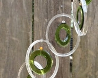 GLASS WINDCHIMES from RECYCLED bottles, eco friendly, clear green, garden decor, wind chimes, mobiles, musical, windchimes