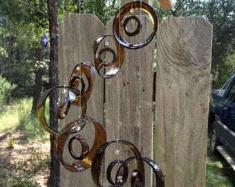 brown, GLASS WINDCHIMES- RECYCLED bottles, wind chime, garden decor, wind chimes, colorful , musical, home decor, mobile