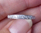 Reserved 4 Kelly....Beautiful.....14k White Gold Diamond Band with Milgrain Design...VS stones....G color.....wedding band.....engagment rin