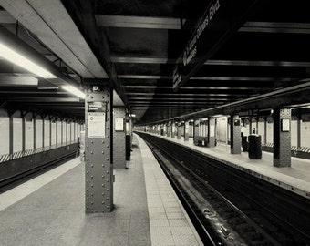 NYC Subway art print. New York subway photo, black and white. Whitehall Street Station subway tunnel photograph. Urban decor, architecture.