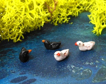 """Ducks-Set of 2 Black Ducks or White Ducks-Polymer Clay-OOAK-1/4"""" tall and 1/4"""" long"""