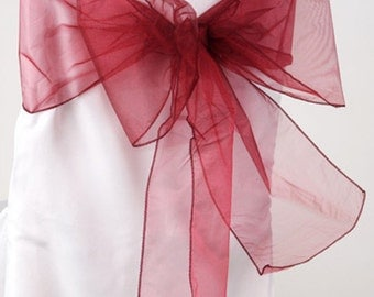 Chair Sashes Wine  100 Wedding Chair Sashes Chair Bows Wine  Organza Pew Bows Party Bows Event