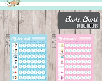 Printable Boys and Girls Chore Charts - INSTANT DOWNLOAD