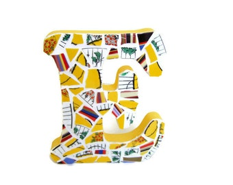 Mosaic Initial E - Patchwork Broken China - Free standing or Wall Mounted