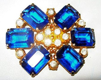 "Art Deco Brooch Signed NEGW Chalice Sapphire Blue Ice Rhinestones Gold Metal 2.5"" Vintage"