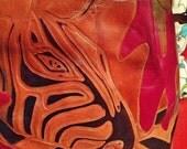 Vintage 80' tooled animals jiraffe tote sac boho hippie indian leather bag