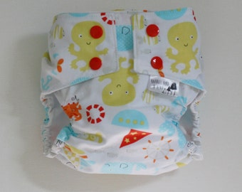 Seaside Water Resistant PUL Lined Cloth Diaper Cover Available in Small, Medium, and Large