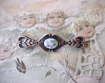 Darling and Dainty Little Victorian Brooch with Porcelain Center