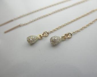 CZ teardrop14K gold-filled ear thread earrings - gold chain earrings - tiny cz teardrop charm - long gold ear thread earrings