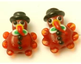 Handmade Lampwork Glass Beads --- Thanksgiving Turkey (10)