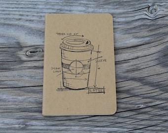 Mini Coffee Lovers Latte Journal Pocket Note Pad