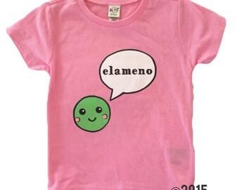 SALE Elameno Pea Tee // Baby Toddler Child Screen Printed Tshirt // BUBBLEGUM PINK // Green // ABCs // lmno // Kavio Tank :sale