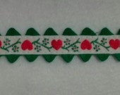 Vintage red heart trim with green rickrack