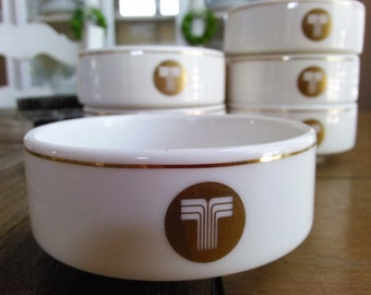 Six Transamerica Airlines ~ Ceramic Bowls Gold Trimmed with Transamerica Logo