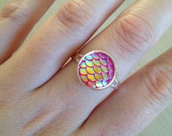 HOT PINK mermaid ring / dragon ring