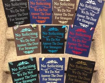 No Soliciting No Solicitation Sign with ribbon