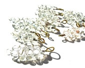 VINTAGE: 12 Large Clear Cluster Glass Charms - Embedded Brass Wire Drops - Clear Charms - Grape Charms - (3-A2-00005283)