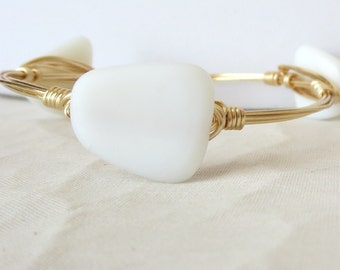 "White Sea Glass Bangle Bracelet ""Bourbon and Bowties"" Inspired"