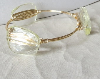 """Palest Yellow Bangle Bracelet """"Bourbon and Bowties"""" Inspired"""