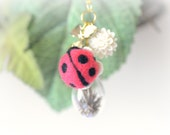 Ladybug on water drop necklace, needle felted ladybug terrarium necklace, whimsical jewelry, gift under 25