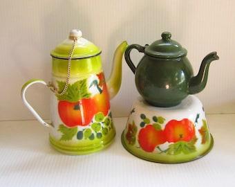 3 Vintage Enamelware Graniteware Coffee Pot Tea Pot Bowl Lot