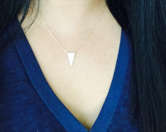 Gold Triangle Necklace, Gold filled Triangle Necklace, Layering Necklace, Birthday Gift, Everyday Necklace, Minimal Necklace,