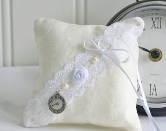 Dainty pincushion , handmade Swedish primitive ring bearer pillow, clock decor