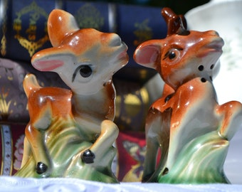 Vintage Deer Salt and Pepper Shaker Set, Bambi, Fawn, Doe, ca. unknown