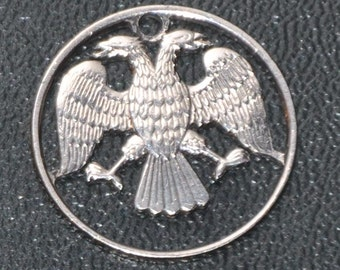 Aquila. Coin cut bag charm. 20 russian roubles Double eagle