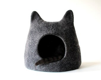 Cat bed cat cave charcoal grey cat house wool cat cave, cats sleeping place gift for cat stylish home decor cat bed with ears handmade bed