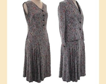 Vintage 1950s dress and jacket suit in grey taffeta rib with floral pattern, UK size 10