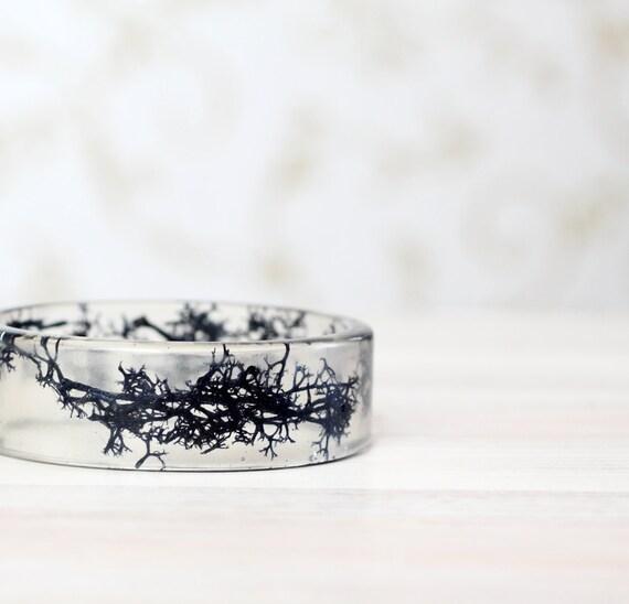 Real Blue moss Bracelet - Epoxy resin bracelet - Unique woodland crystal resin Bracelet