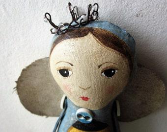 Queen Bee, Bee Art doll, Folk art doll.