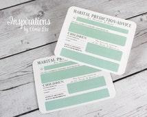 Marriage advice, Marital Prediction Cards, guest book alternative