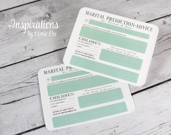 Marriage advice, Marital Prediction Cards, guest book alternative