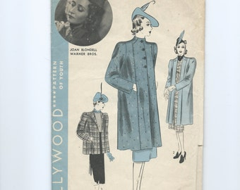 Vintage 1930s Women's Coat Pattern Hollywood Patterns 1700