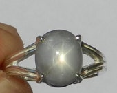 Natural Untreated 3.88 Carat Star Sapphire Solitaire Ring Solid 925 Sterling Silver