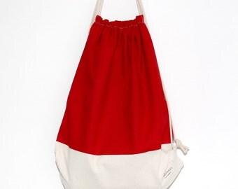 Drawstring backpack/ Drawstring bag/ gym bag ~ Rainbow series (red) (B20)