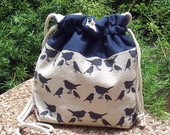 3 in 1 handbag / shoulder bag / crossbody bag ~ Dark blue birds (A6)