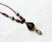 Green Bead Necklace Beaded Jewelry Copper Lariat  Repurposed Short Boho Rustic