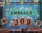Embrace Joy Mixed Media Art Print Positive Collage Art Inspirational Blue Green Beige