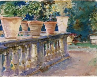 John Singer Sargent Watercolor Reproductions. The Balustrade, Lucca,  Italy. c. 1910 - Fine Art Print.