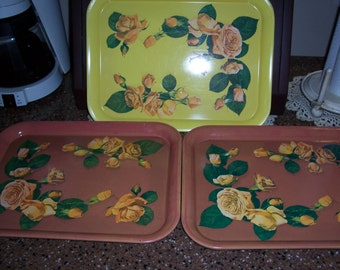 Vintage Yellow and Peach Floral MetalTray...Mid Century Kitchen ServingTray.....Set of 3 in Good Condition...